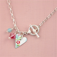 Picture of Pretty Floral Small Slim Heart Toggle Bracelet