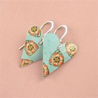 Picture of Bright Floral Medium Heart Earrings (short earwire)