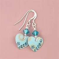 Picture of Bright Floral Small Round Heart Earrings with Crystals