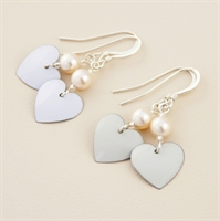 Picture of Bridal Round Heart & Pearl Earrings (Small Earwire)