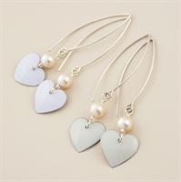 Picture of Bridal Round Heart & Pearl Earrings (Medium Earwire)