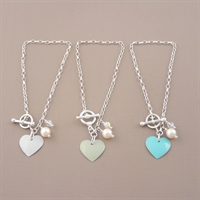 Picture of Bridesmaid Round Heart & Pearl Toggle Bracelet
