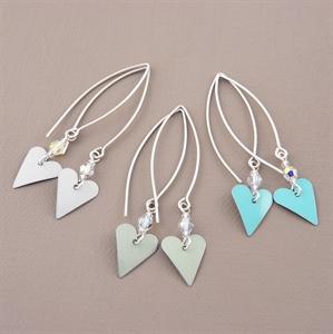 Picture of Bridesmaid Slim Heart & Crystal Earrings (Medium Earwire)