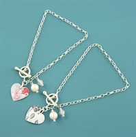 Picture of Round Heart & Pearl Toggle Bracelet