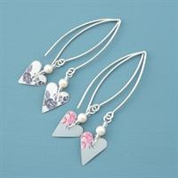 Picture of Slim Heart & Pearl Earrings (Medium Earwires)