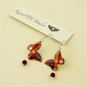Picture of Tartan Butterfly & Crystal Earrings BE54