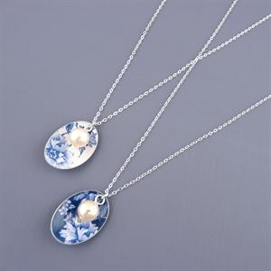 Picture of Denim Oval & Pearl Necklace JS47b-de