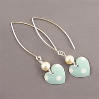 Picture of Spotty Round Heart & Pearl Earrings (Medium Earwire)
