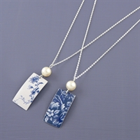 Picture of Denim Rectangle & Pearl Necklace JS48b-de