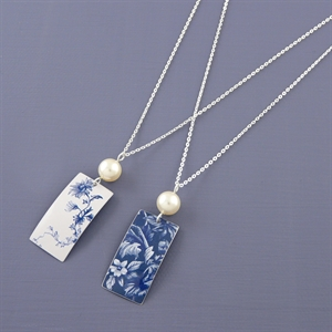Picture of Denim Rectangle & Pearl Necklace JS48b-de