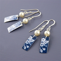 Picture of Denim Rectangle & Pearl Earrings JE48b-de