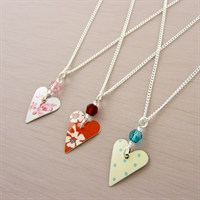 Picture of Small Slim Heart & Crystal Necklace