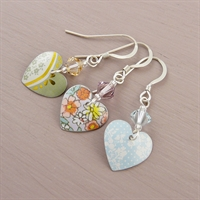 Picture of Small Round Heart & Crystal Earrings JE15B