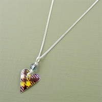 Picture of Tartan Small Slim Heart & Crystal Necklace