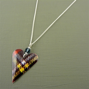 Picture of Tartan Slim Heart & Crystal Necklace
