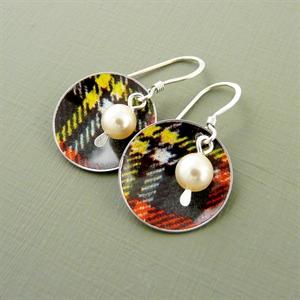Picture of Tartan Disc & Pearl Earrings