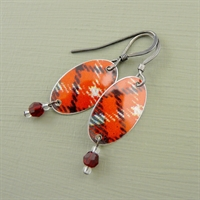 Picture of Tartan Oval & Crystal Earrings