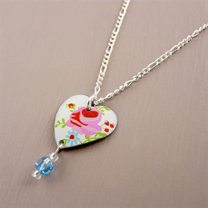 Picture of Pretty Floral Small Round Heart & Crystal Necklace