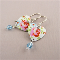 Picture of Pretty Floral Small Round Heart & Crystal Earrings