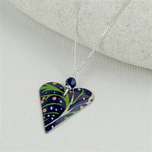 Picture of Midnight Floral Slim Heart & Crystal Necklace