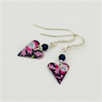 Picture of Small Slim Heart & Crystal Earrings