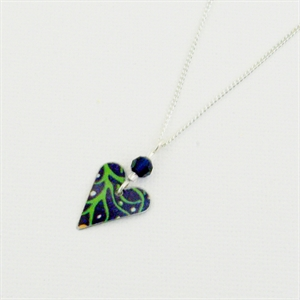 Picture of Midnight Floral Small Slim Heart & Crystal Necklace