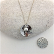 Picture of Fleur Small Disc and Pearl Pendant