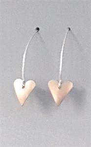 Picture of Copper Rose Small Slim Heart Earrings - JE17
