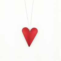 Picture of Red Aluminium Medium Slim Heart Necklace JS7