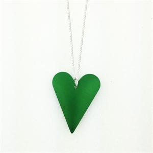 Picture of Green Aluminium Medium Slim Heart Necklace JS7