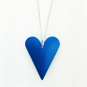 Picture of Blue Aluminium Medium Slim Heart Necklace JS7