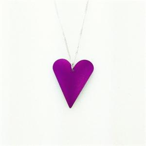 Picture of Purple Aluminium Medium Slim Heart Necklace JS7