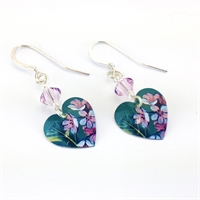 Picture of Jade Small Round Heart & Crystal Earrings